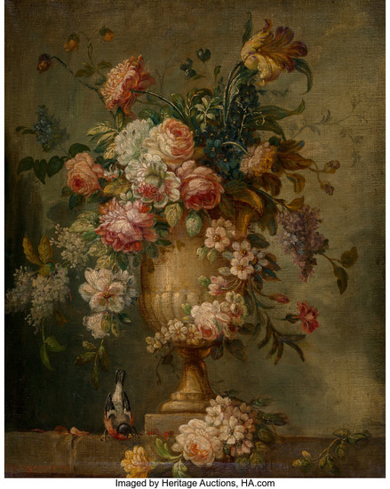 Flemish School (Early 19th Century), Still Life with Flowers in an Urn on a Ledge with a Bird