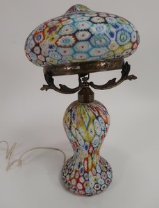 Lot Art Italian Millefiori Table Mushroom Lamp