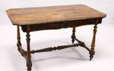 A GOOD REGENCY ROSEWOOD LIBRARY TABLE, the beaded