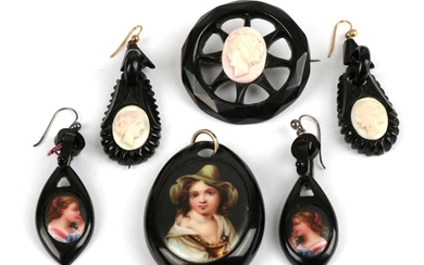 A Small Quantity of Jet Jewellery, including; a jet pendant,...