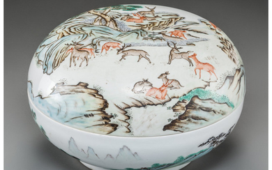 Maker unknown, A Large Chinese Enameled Porcelain Covered Box with Deer Motif (Republic Period,)