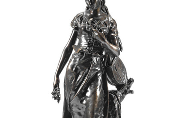 Hippolyte Moreau (French, 1832-1927): A patinated bronze figure of a young peasant woman