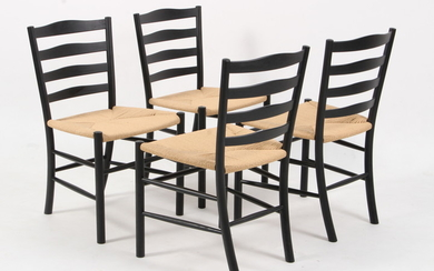 Kaare Klint. Set of four church chairs, black varnished (4)