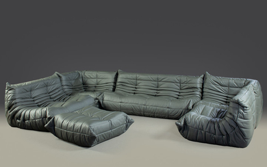 Michel Ducaroy. Togo Suite. Set of six in charcoal leather for Ligne Roset (6)