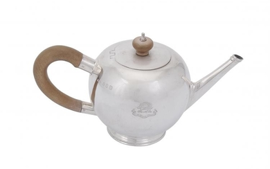 A Britannia standard silver bullet shaped small tea pot by Crichton Bros