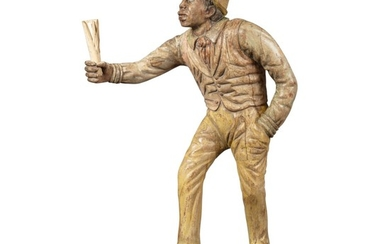 IMPORTANT CARVED AND POLYCHROME PAINT-DECORATED PINE SCULPTURE OF A STANDING RACE TRACK TOUT, CIRCA 1870
