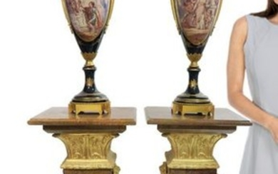 Large Pair of 19th C. Bronze Mounted Sevres Vases