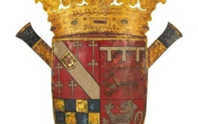 A Large English Tole Coat of Arms Height 50 x