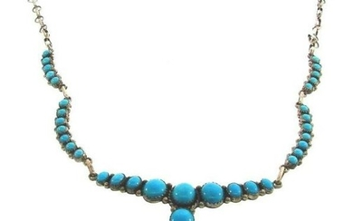NATIVE AMERICAN Sterling Silver & Turquoise Necklace
