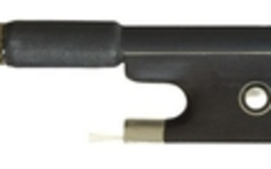 Nickel-Mounted Viola Bow - The round carbon-fiber stick unstamped, the ebony frog with parisian eye, the nickel and ebony adjuster, weight 65 grams (without hair).