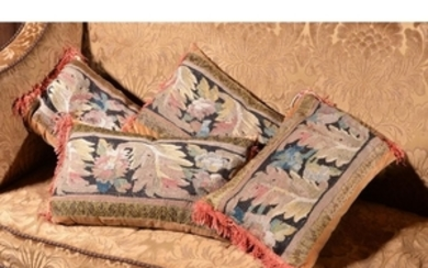 A set of four cushions incorporating 18th century tapestry fragments