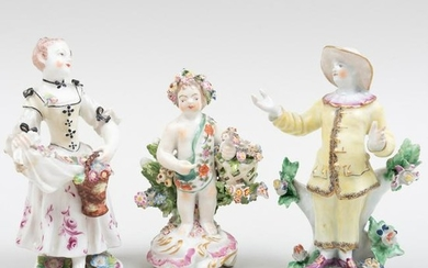 Bow Porcelain Figure of Pedrolino or Pierrot and Two