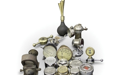 Brass and Nickle Autojumbler Lot, including Speedometers, Hubcaps, and Lamps
