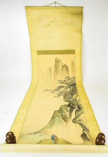 Chinese Mountain Landscape Scroll Painting
