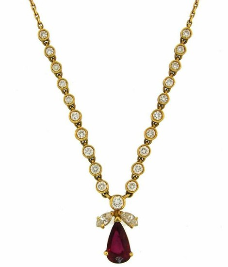 0.97-ct Ruby 1.30cts Diamond Yellow Gold Pendant