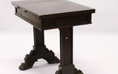 AN UNUSUAL 19TH CENTURY MAHOGANY DRAWLEAF TABLE, with a
