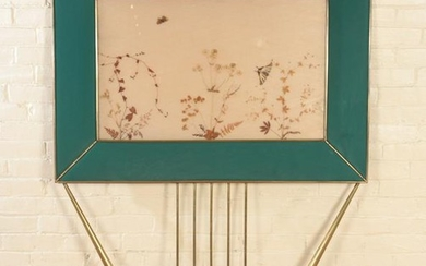 AN ITALIAN BRONZE AND GLASS WALL PANEL