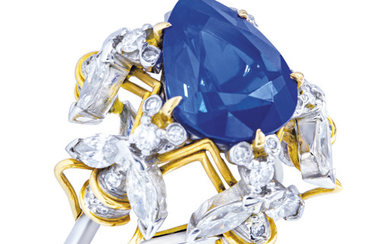 SAPPHIRE AND DIAMOND RING, MOUNT BY SCHLUMBERGER FOR TIFFANY & CO.,