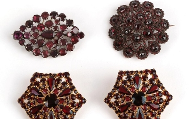 Two Garnet Brooches and A Pair of Earrings, a lozenge...
