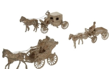 (3) Lot miniature carriages silver.