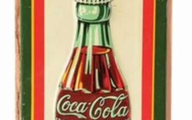 1930 EMBOSSED TIN COCA-COLA DOOR PUSH SIGN.