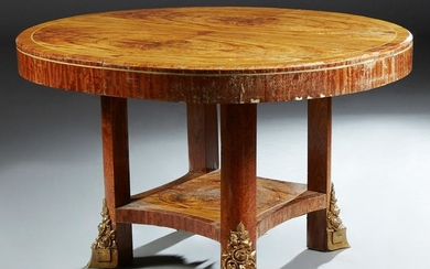 French Inlaid Burled Ormolu Mounted Elm Oval Dining