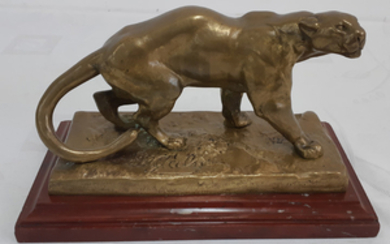 SIGNED FRENCH POLISHED BRONZE SCULPTURE OF PANTHER