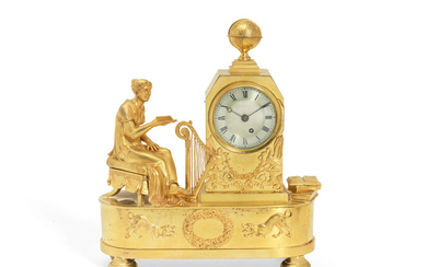 A Regency gilt bronze figural mantel timepiece depicting the allegory of love
