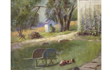 LILA HETZEL (american, 1873-1967) YARD SCENE Signed and dated...