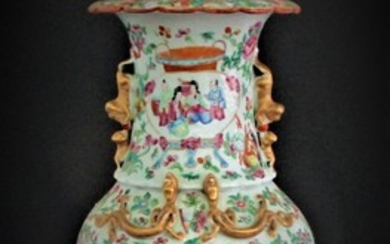 Large Chinese Famille Rose Vase Qing Dynasty A5WAC