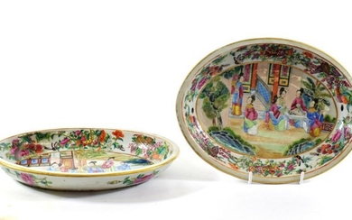 A Pair of Cantonese Porcelain Oval Dishes, mid 19th century,...