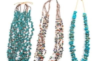 Three Southwestern Multi-Gem Bead Necklaces