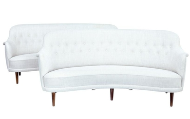 PAIR OF 20TH CENTURY SHAPED SOFAS BY CARL MALMSTEN