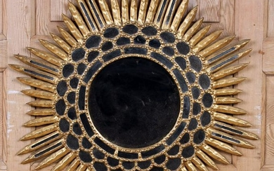 CARVED WOOD AND GLASS SUNBURST MIRROR