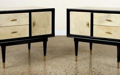 PAIR EBONIZED PARCHMENT NIGHT STANDS CIRCA 1960