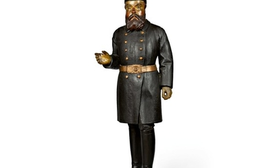 FINE AND RARE CARVED AND PAINTED PINE TOBACCONIST STORE FIGURE OF A POLICEMAN OR SOLDIER, LATE 19TH CENTURY