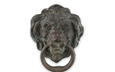 A LARGE GEORGIAN CAST BRASS DOOR KNOCKER, in the f…