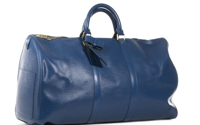 LOUIS VUITTON Sac KEEPALL, cuir Epi bleu,…