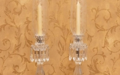 St Louis - Crystal Hurricane Candle Lamps - Pair