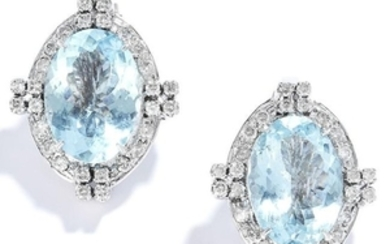 VINTAGE AQUAMARINE AND DIAMOND EARRINGS in 18ct white