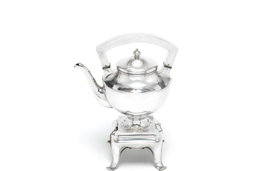 An American silver kettle on stand