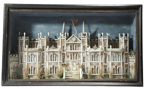 A Victorian rolled paper diorama of a Gothic count…