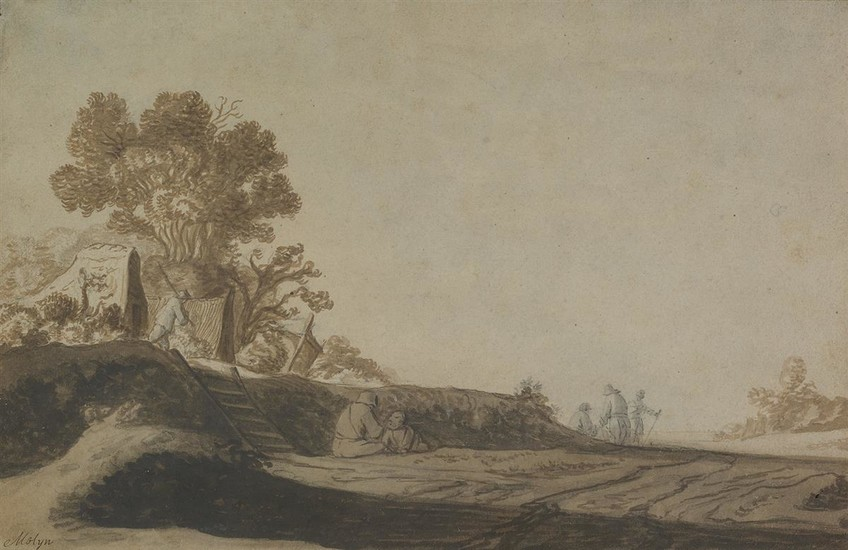 PIETER DE MOLIJN (CIRCLE OF) (London 1595 1661 Haarlem) A Landscape with Travelers Resting and Walking on a Road.