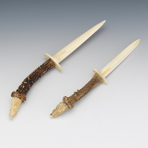 Two Antler and Carved Bone Page Turners with Boar Heads, ca. 19th Century