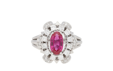 Ruby and diamonds ring, mid 20th Century.