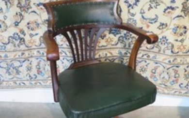 A Circa 1900's desk chair with leatherette seat and back - i...