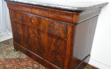LOUIS PHILPPE MAHOGANY MARBLE TOP COMMODE
