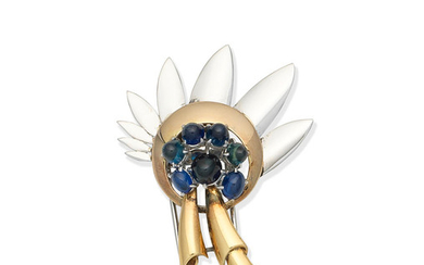 A sapphire floral brooch,