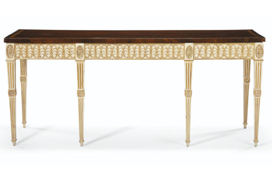 A GEORGE III MAHOGANY, TULIPWOOD, CREAM-PAINTED AND PARCEL-GILT SIDE TABLE, CIRCA 1775, THE TOP LATER