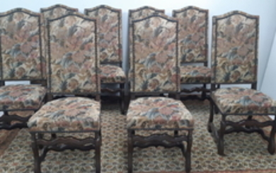 SET OF WALNUT STAINED LOUIS XIII STYLE CHAIRS